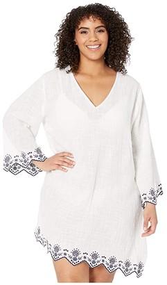 Dotti Plus Size Rosemary Embroidery V-Neck Caftan Cover-Up (White) Women's Swimwear