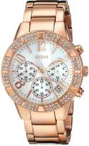 GUESS GUESS? Women's U0141L3 Dazzling Sporty Crystal Rose Gold-Tone Chronograph Watch