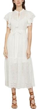 BCBGMAXAZRIA Cotton Eyelet Midi Dress