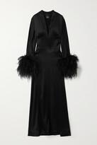 Taller Marmo - Elvira Feather-trimmed Silk-blend Satin Maxi Dress - Black