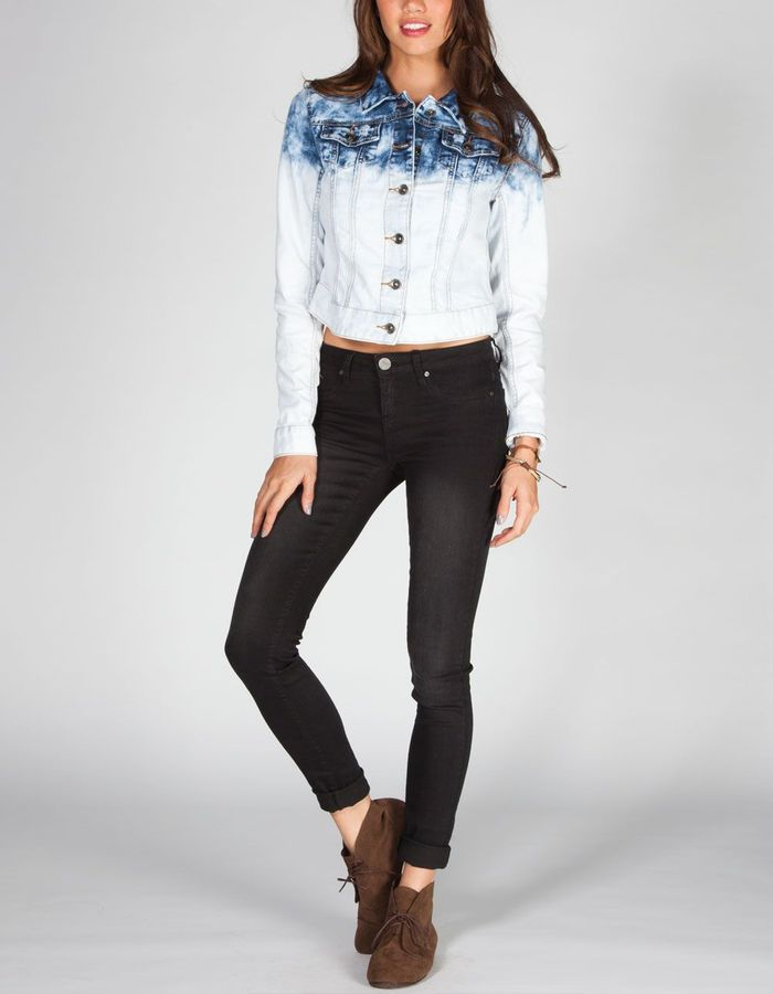 YMI Jeanswear Acid Wash Dip Dye Womens Denim Jacket