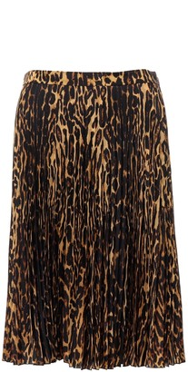Burberry Leopard Printed Pleated Skirt