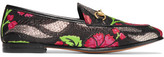 Gucci Jordaan Horsebit-detailed Leather-trimmed Metallic Floral-brocade Loafers - Black
