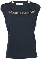 Pierre Balmain gold-tone logo top - women - Cotton - 34