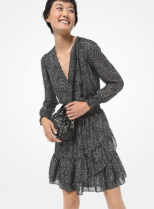 MICHAEL Michael Kors MK Metallic Star Georgette Ruffled Wrap Dress - Black/silver - Michael Kors