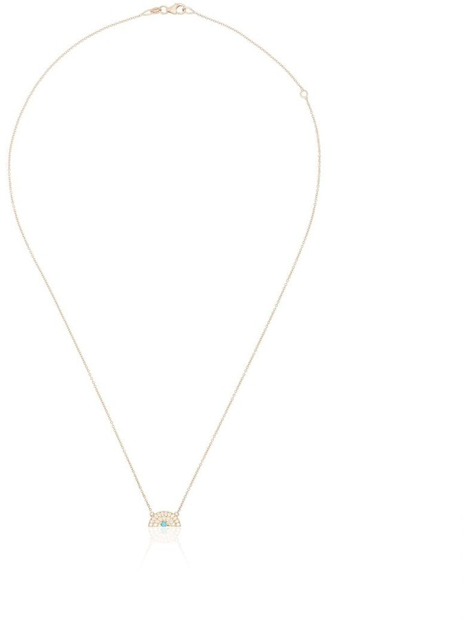 Andrea Fohrman 18K yellow gold diamond and turquoise rainbow necklace