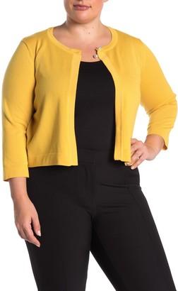 Nina Leonard 3/4 Sleeve Pearl Button Cardigan (Plus Size)
