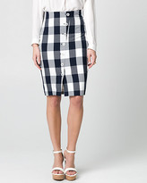 Le Château Gingham Viscose Blend Pencil Skirt