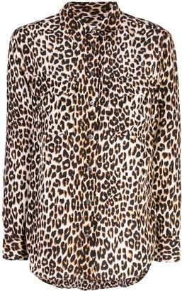 Equipment Leopard Print Fitted Blouse