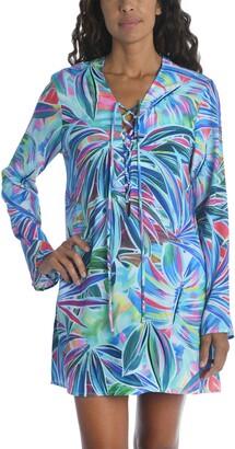 La Blanca Palm Long Sleeve Cover-Up Tunic