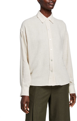 Vince Boxy Long-Sleeve Button-Down Top