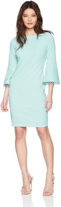 Calvin Klein Women's Bell Sleeved Sheath with Novelty Trim Dress