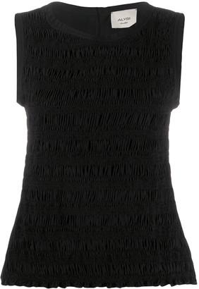 Alysi Shirred Sleeveless Top