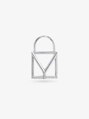 Michael Kors Precious Metal-Plated Sterling Silver Pave Oversized Mercer Lock Charm