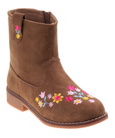 KensieGirl Taupe Embroidered Boot