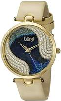 Burgi Women's BUR131YG Swarovski Crystal Accented Peacock Feather Dial Yellow Gold and Cream Satin over Leather Strap Watch