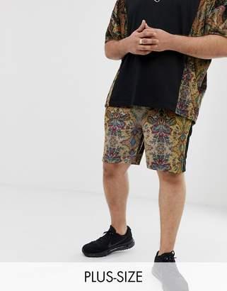 Asos Design DESIGN Plus co-ord velour skinny shorts with floral print-Black