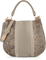 Foley + Corinna Dione Cerberus Snake-Embossed Leather Hobo Bag, Safari Snake Combo