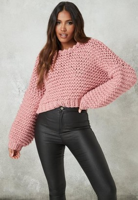 Missguided Rose Hand Knit Cropped Sweater