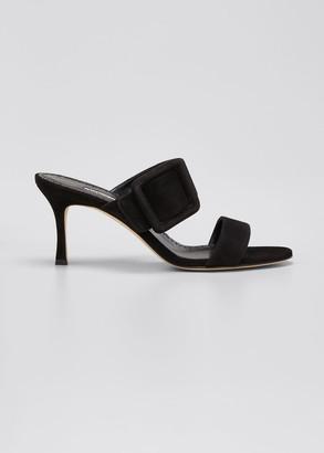 Manolo Blahnik Gable Suede Buckle Slide Sandals