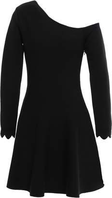 Oscar de la Renta Flared One-shoulder Wool-blend Mini Dress