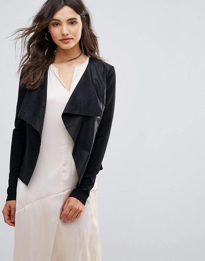 Only Sound Faux Leather Waterfall Jacket