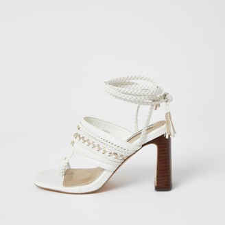 River Island Womens White toe loop plaited lace-up ankle heels
