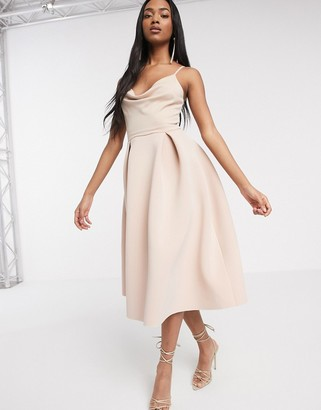 ASOS DESIGN cowl neck cami midi prom dress in rose dust