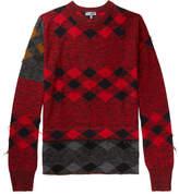 Lanvin Distressed Intarsia Wool Sweater - Red