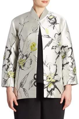Caroline Rose Caroline Rose, Plus Size All In Bloom Floral Jacquard Jacket