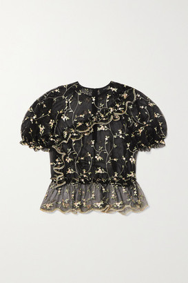 Simone Rocha Bubble Ruffled Embroidered Tulle Top - Black