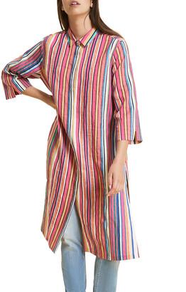 Marina Rinaldi Plus Size Diabase Striped 3/4-Sleeve Shirtdress