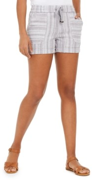 Style&Co. Style & Co Petite Striped Linen-Blend Pull-On Shorts, Created for Macy's