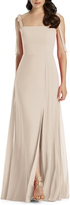 Dessy Collection Shoulder Tie Chiffon A-Line Gown