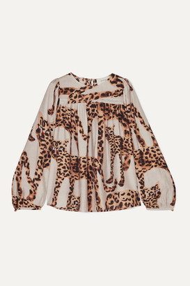MUNTHE Pleated Animal-print Voile Blouse