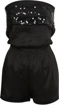 Black Sequin Short Jumpsuit