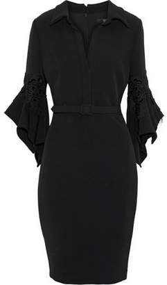 Badgley Mischka Belted Flocked Lace-appliqued Cady Dress