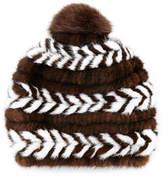 Surell Mink Fur Beanie Hat, Brown/White