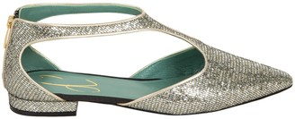 Paola DArcano Pointed Toe Metallic Back-zip Sandals