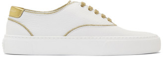 Saint Laurent White and Gold Venice Sneakers