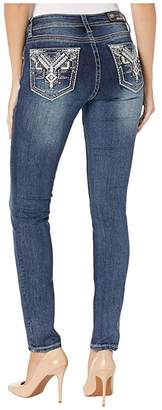 Grace in LA Mid-Rise Skinny Aztec Jeans with Leather in Dark Blue