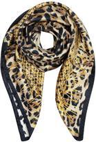 Roberto Cavalli Animal Print and Stars Pure Silk Square Scarf