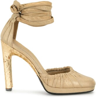 Gucci Pre-Owned Tied Ankle Metallic Sandals