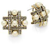 Heidi Daus Crisscross Swarovski Crystal & Faux Pearl Earrings