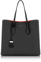 Coccinelle Celene Black and Gerbera Red Leather Tote Bag