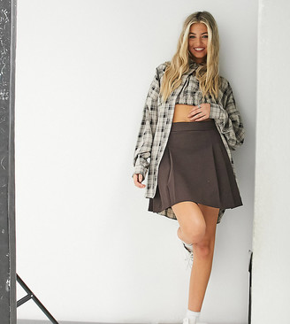 Collusion Unisex pleated tennis mini skirt in chocolate brown