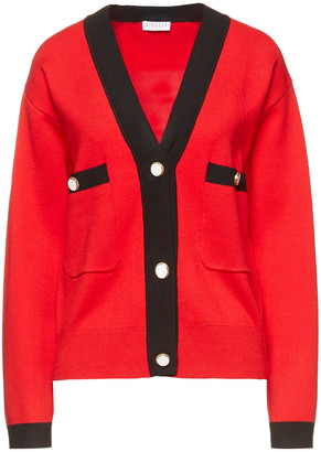 Claudie Pierlot Two-tone Ribbed-knit Cardigan