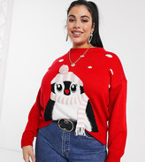 New Look Plus Curve Penguin Christmas Jumper in Red