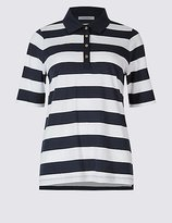 Classic Pure Cotton Striped Polo T-Shirt