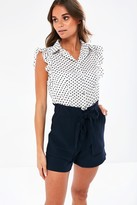 Iclothing iClothing Jace Polka Dot Sleeveless Blouse in White